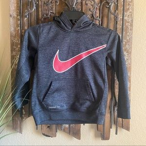 Nike 7 Boys Grey And Red Dri Fit Hoodie with Red Swoosh